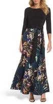Ellen Tracy Women's Jersey & Print Satin Trumpet Gown
