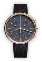 Uniform Wares M40 Women's chronograph watch in PVD satin gold with black textured calf leather strap