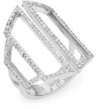Effy Diamond Pavé & 14K White Gold Geometric Cutout Ring