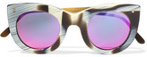 Illesteva Boca Ii Cat-eye Acetate Mirrored Sunglasses - Black