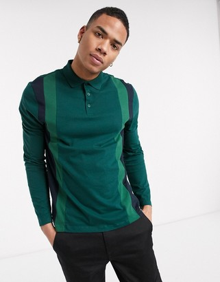 ASOS DESIGN organic long sleeve polo shirt with vertical colour block in green