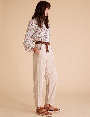 Marks and Spencer Tencel Cargo Straight Ankle Grazer Trousers
