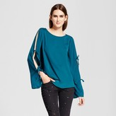 Mossimo Women's Long Sleeve Blouse with Sleeve Ties Teal
