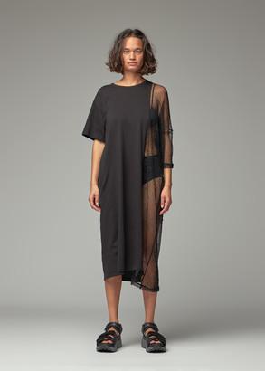 Y's by Yohji Yamamoto Women's Half Mesh Asymmetric T-Shirt Dress in Black X Black Size 2