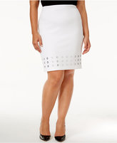 Calvin Klein Plus Size Grommet-Trim Pencil Skirt