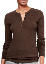 Lauren Ralph Lauren Petite Cotton Half-Zip Henley Slim-Fit Tee