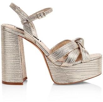 Alice + Olivia Veren Metallic Leather Platform Sandals