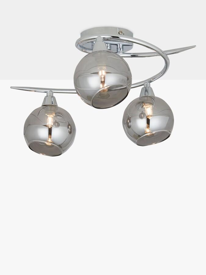 ANYDAY John Lewis & Partners Ribbon Semi Flush, 2 Arm Smoked Glass Ceiling Light, Chrome/Grey