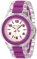 Juicy Couture Women's 1900868 Rich Girl Clear Plastic Bracelet With Purple Silicone Inlay Watch