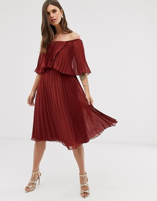 Asos Design DESIGN pleated bandeau midi dress with double layer-Red