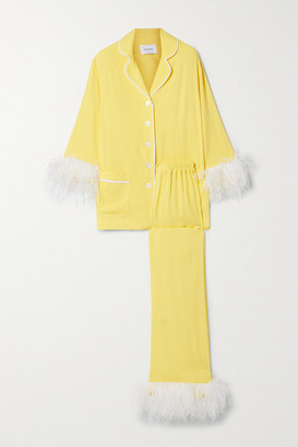 Sleeper Party Feather-trimmed Crepe De Chine Pajama Set - Yellow