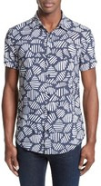 Armani Jeans Men's Trim Fit Print Sport Shirt