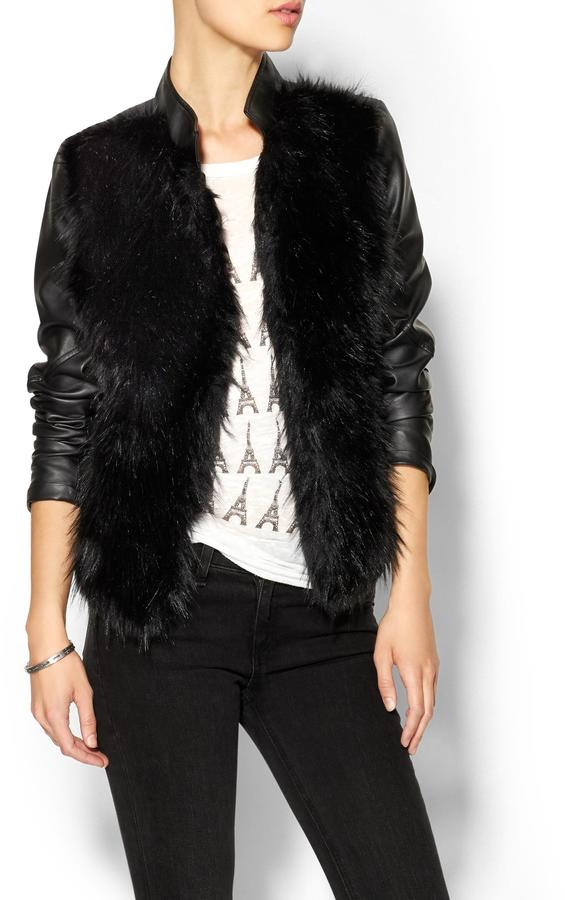 Piperlime Collection Faux Fur Vegan Leather Jacket