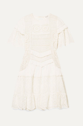 Sea Zinnia Ruffle-trimmed Broderie Anglaise Cotton Mini Dress - White