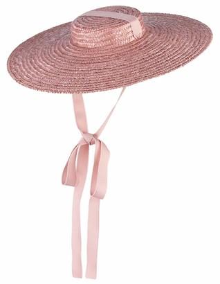 GEMVIE Women Vintage Summer Straw Hat Large Brim Flat Top Boater Hat Braided Beach Sun Cap with Chin Strap Pink