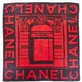 Chanel Black & Red Silk Scarf.