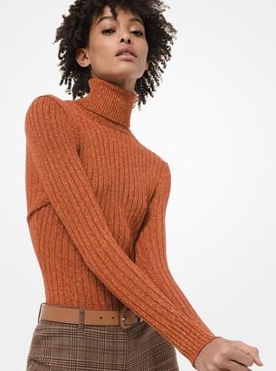 Michael Kors Ribbed Metallic Stretch-Viscose Turtleneck Sweater