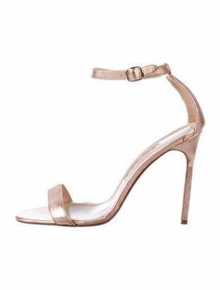 Manolo Blahnik Metallic Leather Sandals Rose