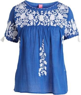 Raj Imports Women's Blouses DENIM - Denim & White Floral-Applique Dorrie Yoke Top - Women