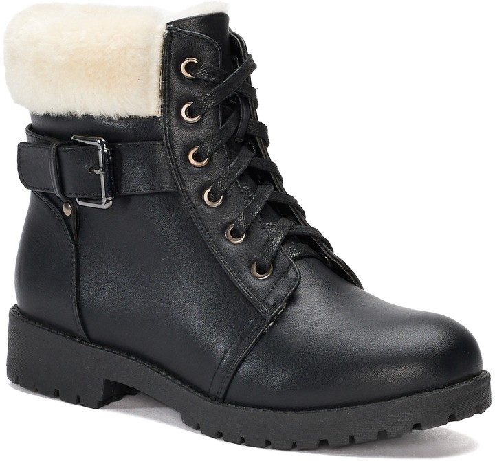 b2a3eceae1c2 Lace Up And Fur Winter Boots - ShopStyle
