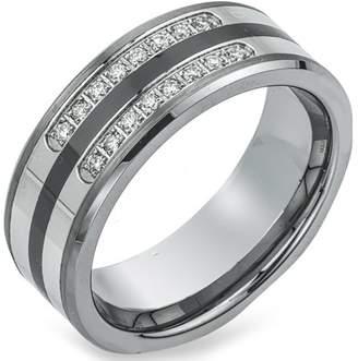 Armani Exchange Jewelry Men's 0.20 Carat T.W. Diamond Tungsten, Ceramic and Stainless Steel Wedding Band (HI-I2)