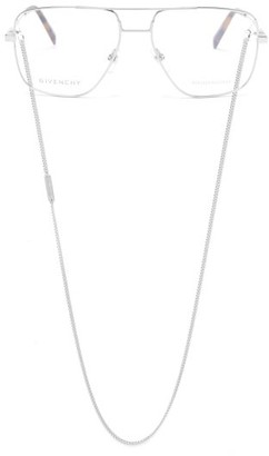 Givenchy Aviator Glasses And Chain - Silver
