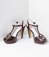Unique Vintage Dark Brown Faux Leather Bettie T-Strap Peep Toe Pump Shoes