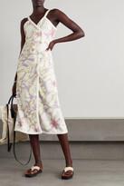 Thumbnail for your product : Racil Floral-print Cotton-terry Wrap Midi Dress - Purple