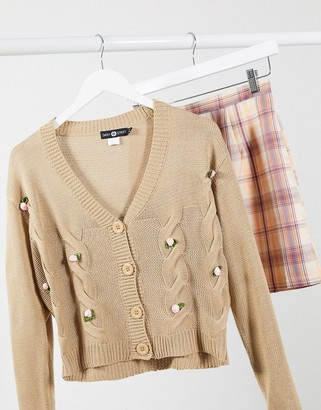 Daisy Street oversized cardigan with bow applique in cable knit