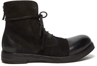 Marsèll Zucca Zeppa Lace Up Suede Leather Boots - Mens - Black