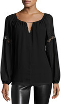 Max Studio Lace-Inset Long-Sleeve Blouse, Black
