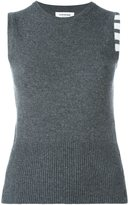 Thom Browne Sleeveless Crewneck Shell Top With 4-Bar Stripe In Dark Grey Cashmere