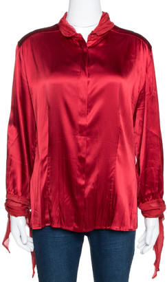 Roberto Cavalli Red Stretch Silk & Chiffon Trim Long Sleeve Blouse L