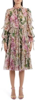 Dolce & Gabbana Tie Detail Floral Silk Chiffon Long Sleeve Dress