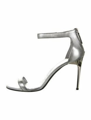 Oscar de la Renta 2019 Leather Sandals Silver