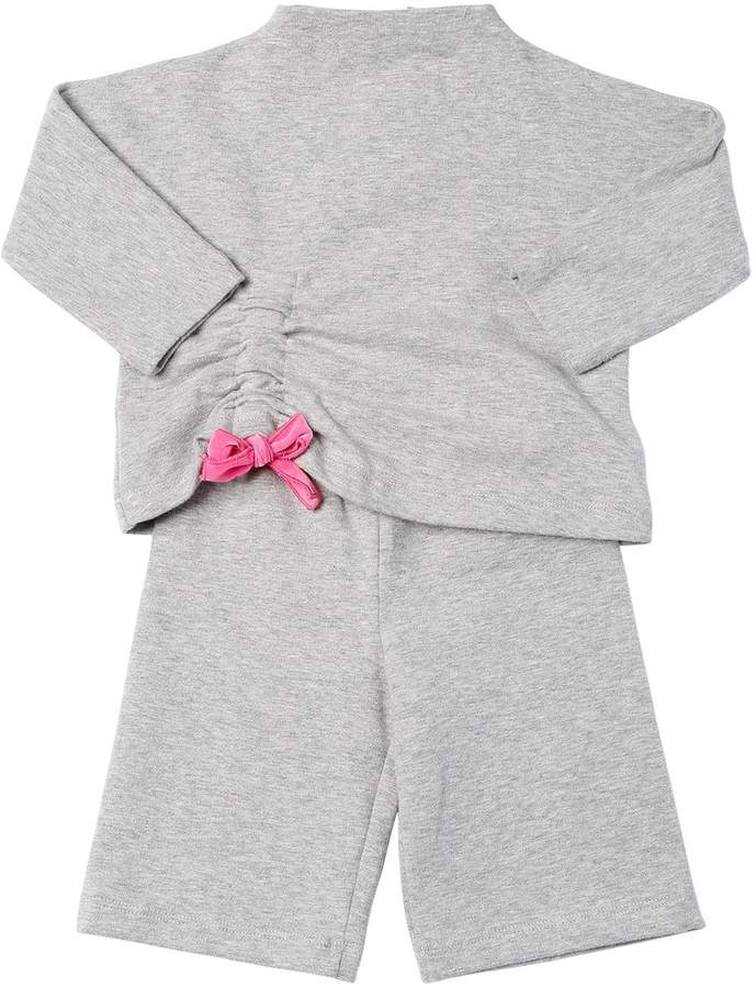 Il Gufo Bow Cotton Sweatshirt & Sweatpants