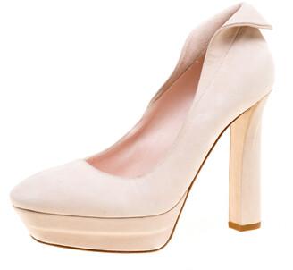 Bottega Veneta Blush Pink Suede Platform Pumps Size 37.5