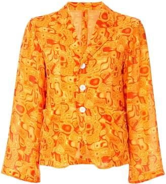 Yohji Yamamoto Pre-Owned cropped kaleidoscope-print blazer