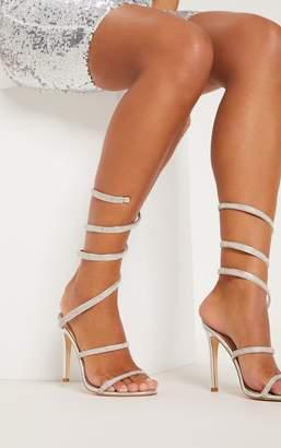 PrettyLittleThing Gold Jewel Diamante Heel