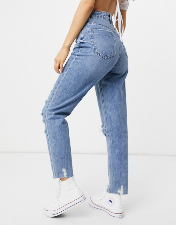 Thumbnail for your product : Pimkie mom jean with rips in blue