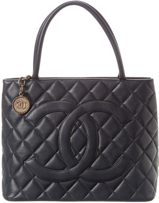 Chanel Blue Caviar Leather Medallion Tote
