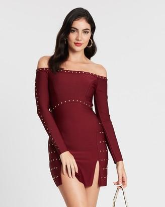 Topshop Studded Bardot Bandage Dress