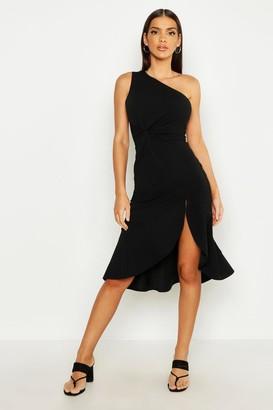 boohoo One Shoulder Knot Front Frill Midi Dress