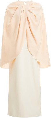 Marina Moscone Exclusive Draped Cape-Effect Satin Dress