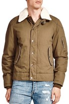 The Kooples Cotton Canvas Faux-Shearling Trim Jacket