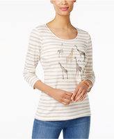 Karen Scott Cotton Striped Giraffe-Graphic Top, Only at Macy's