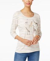 Karen Scott Petite Cotton Striped Giraffe Top, Only at Macy's