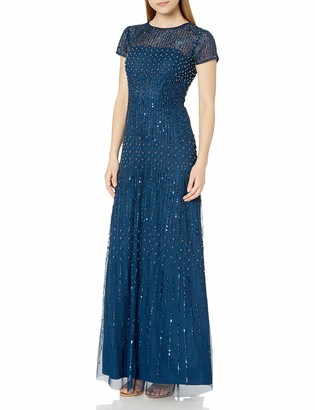 Adrianna Papell Women's Short Sleeve Fully Beaded Gown with Cap Sleeves