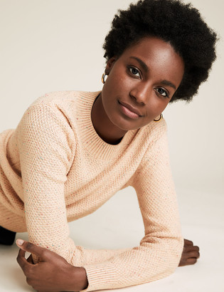 Marks and Spencer Cotton Textured Crew Neck Jumper with Wool