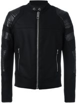 Les Hommes biker jacket - men - Leather/Polyamide/Rayon/Virgin Wool - 46